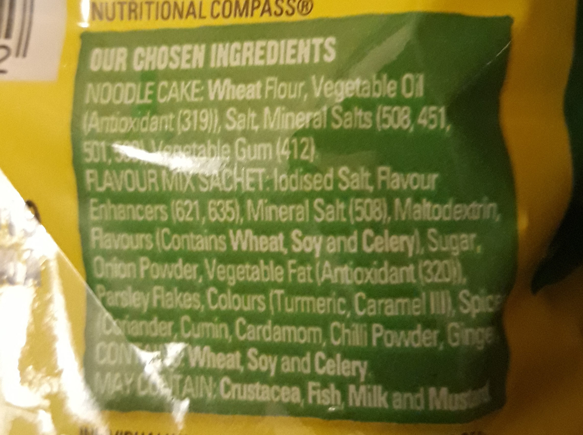 2 minute noodles chicken flavour - Ingredients - en