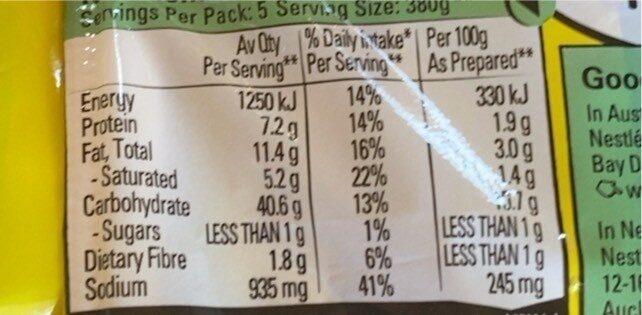 noodles - Nutrition facts - en