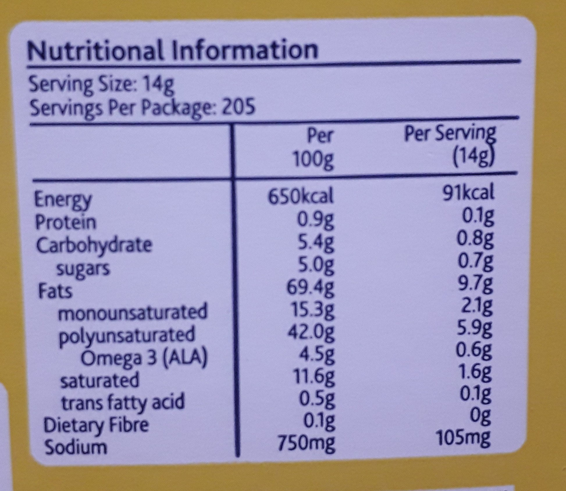 Real Mayonnaise - Nutrition facts - en
