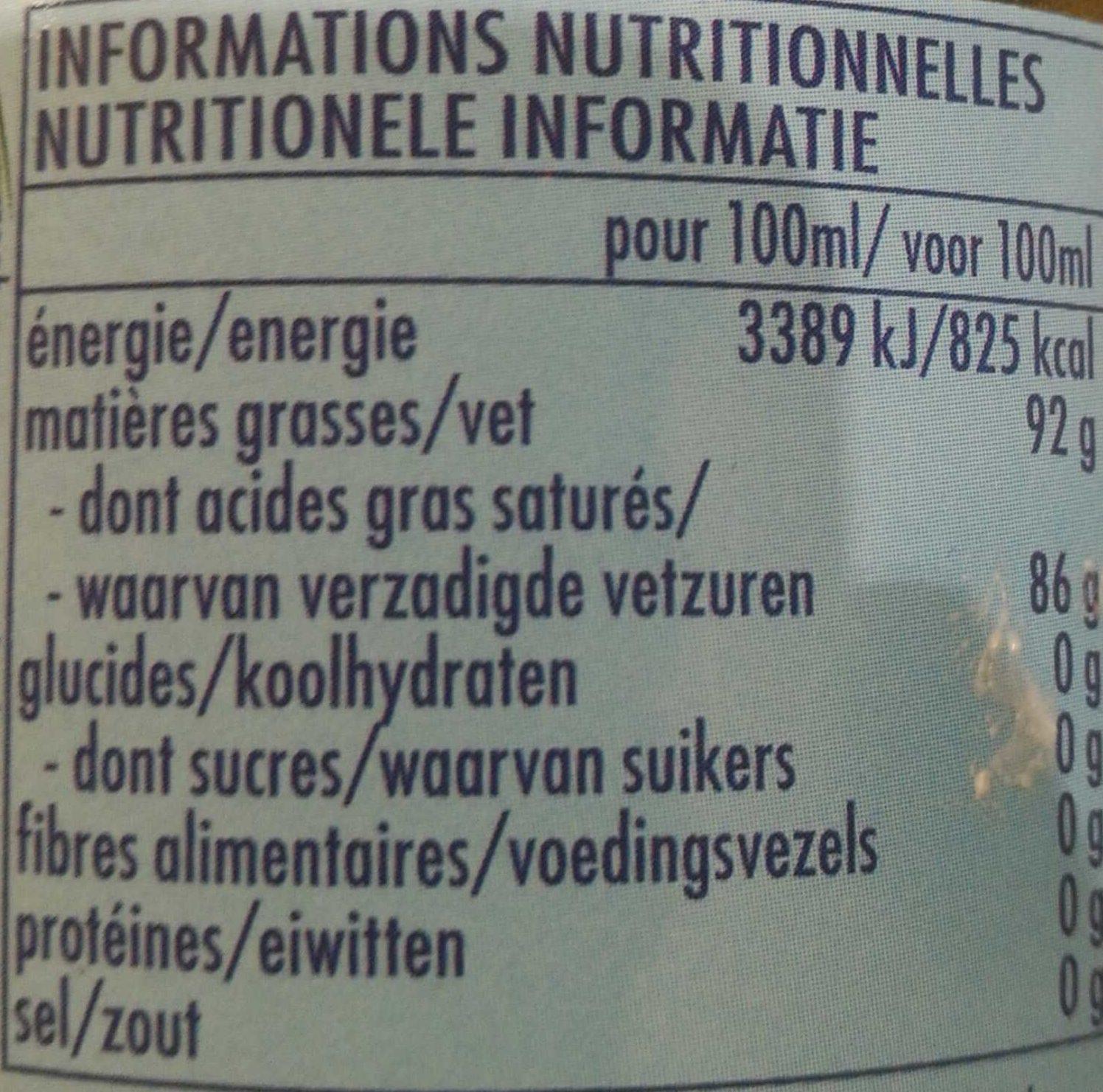 Huile de coco vierge bio Ayam™ - Nutrition facts