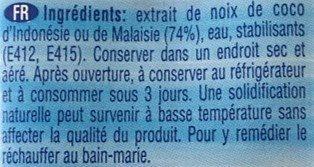 Lait de Coco Ayam™ - Ingredients