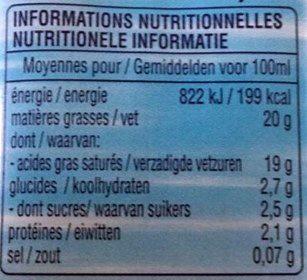 Lait de Coco Ayam™ - Informations nutritionnelles