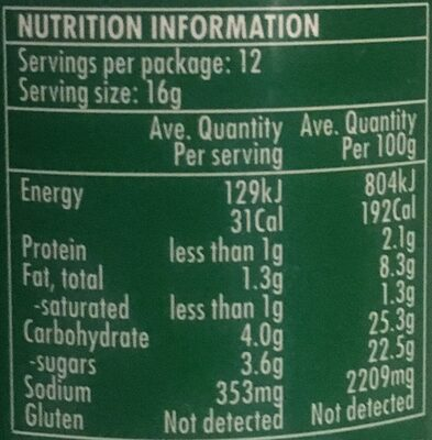 Thai Green Curry Paste - Nutrition facts - en