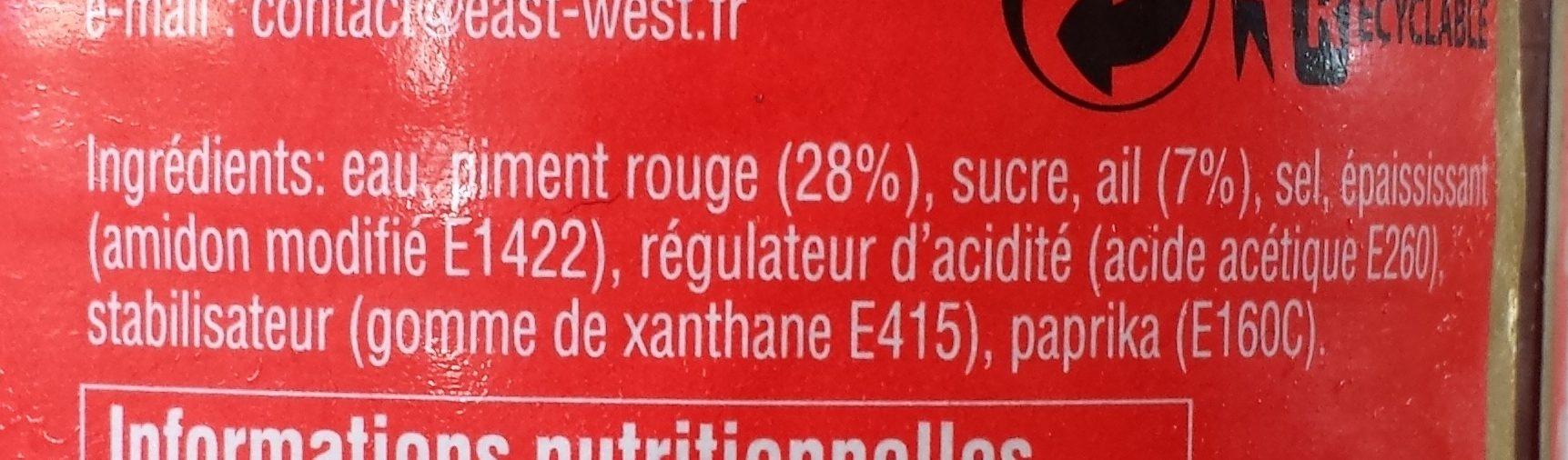 Sauce Piment Sriracha ';hot'; Ayam™ - Ingrediënten - fr