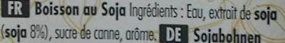 Boisson au soja (soy bean 8%) - Ingrédients - fr