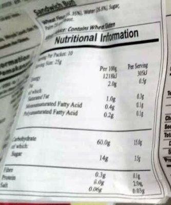 Mantou Sandwich - Nutrition facts - fr