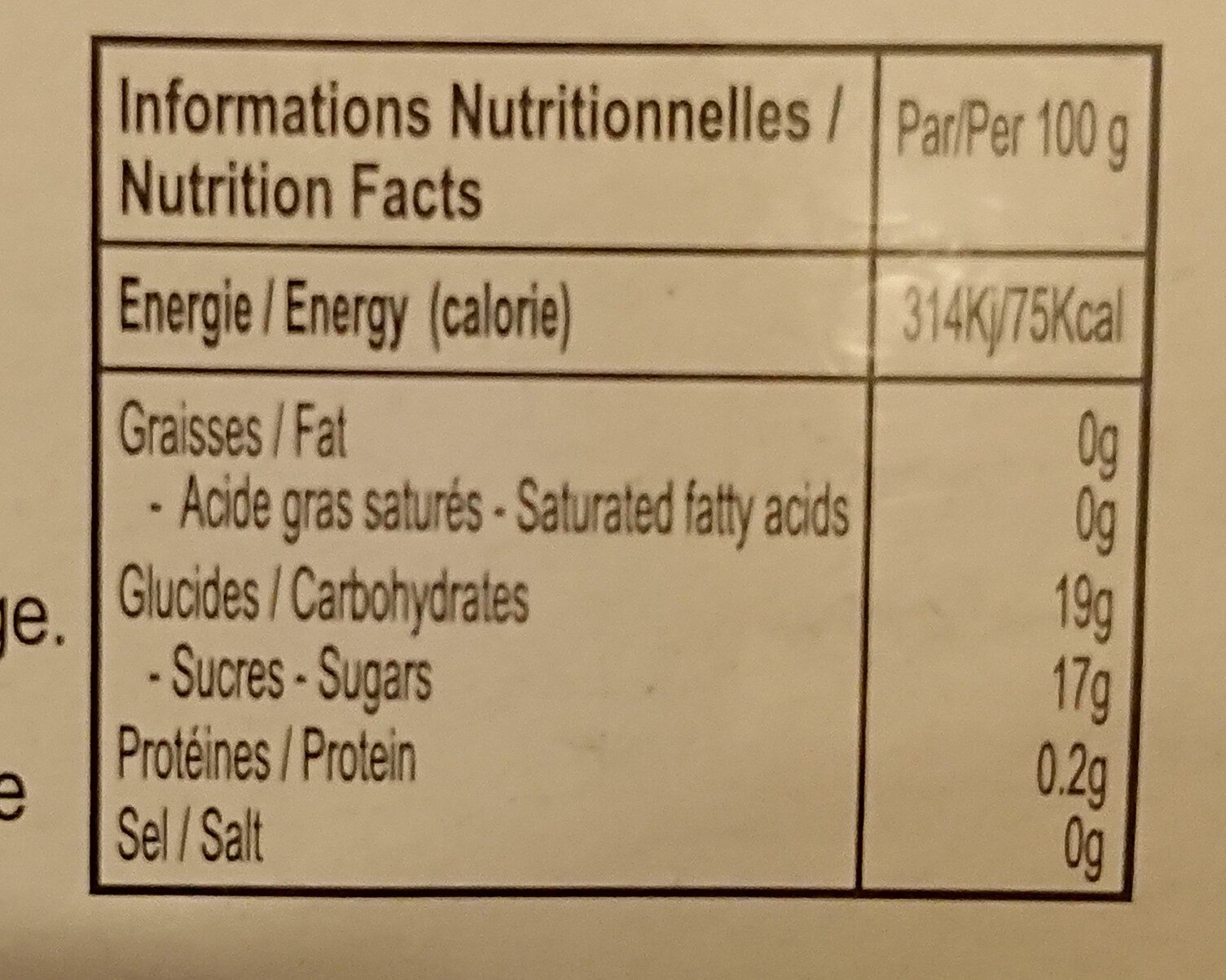 Jelly with Nata de coco Modern Dessert - Nutrition facts