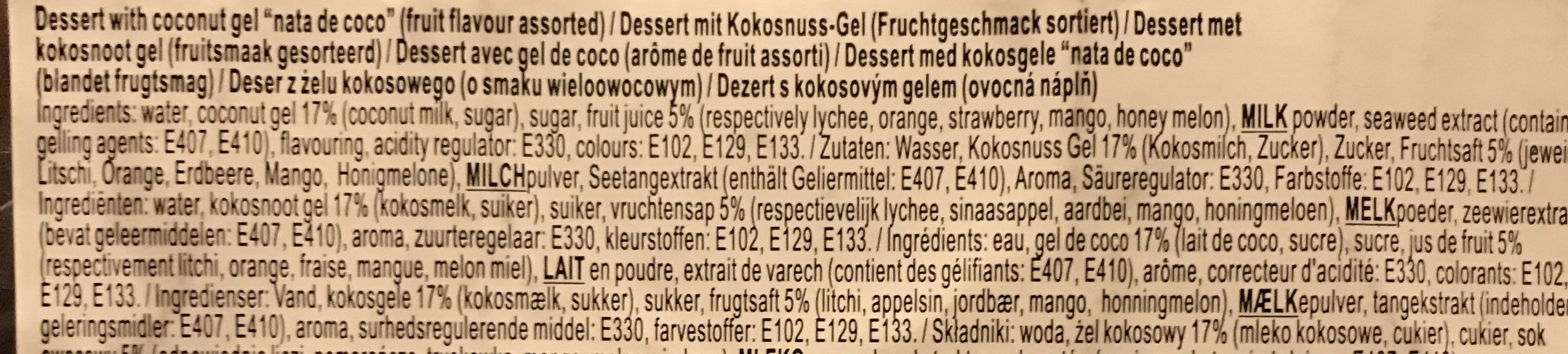 Assorted Fruit Flavour Jelly Pudding with ut Gel Pieces 6 x - Ingrédients
