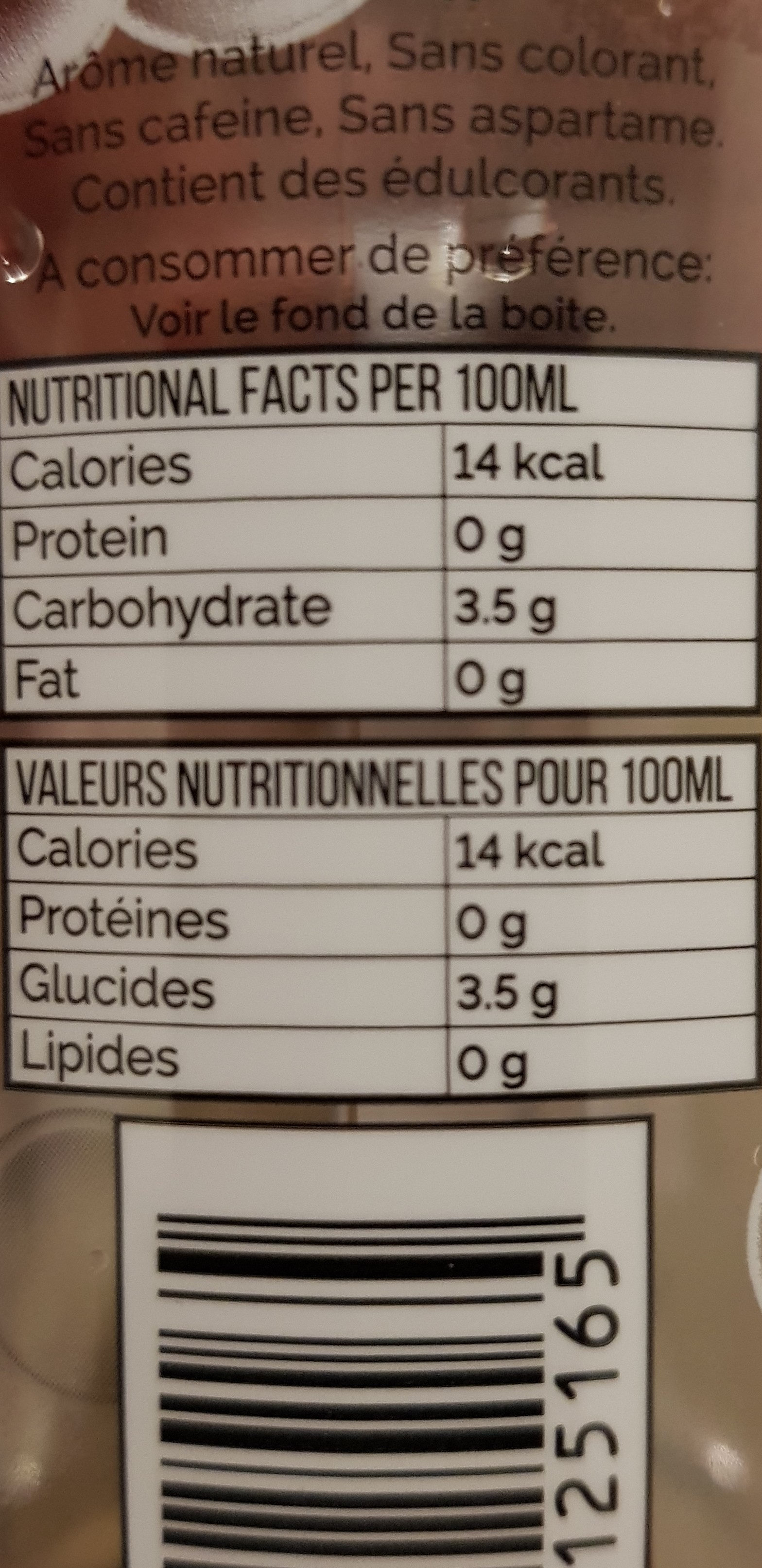 Soft Drink Strawberry Flavour - Informations nutritionnelles