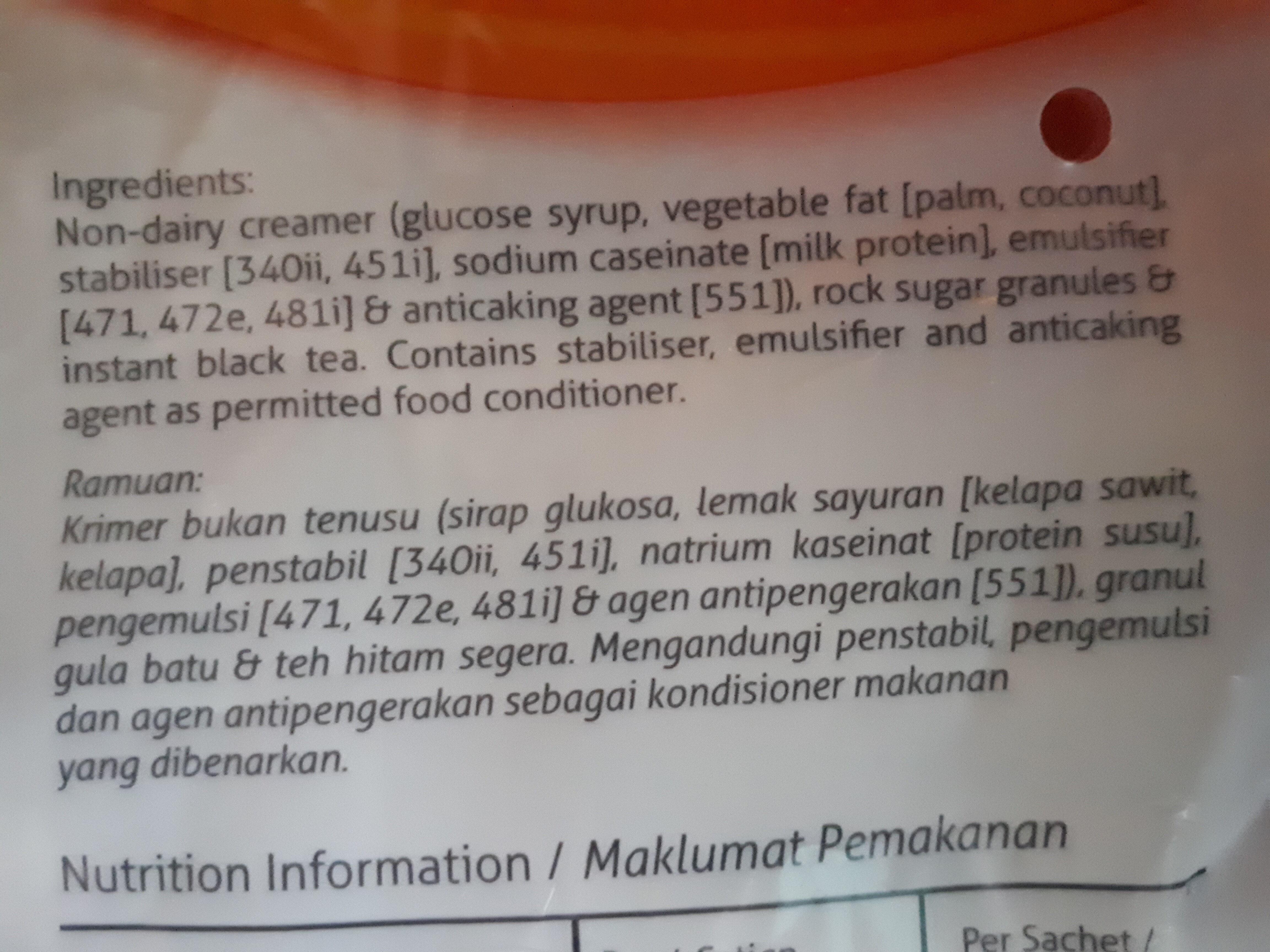 Teh Tarik - 3 in 1 Heritage Milk Tea - Ingredienti - en