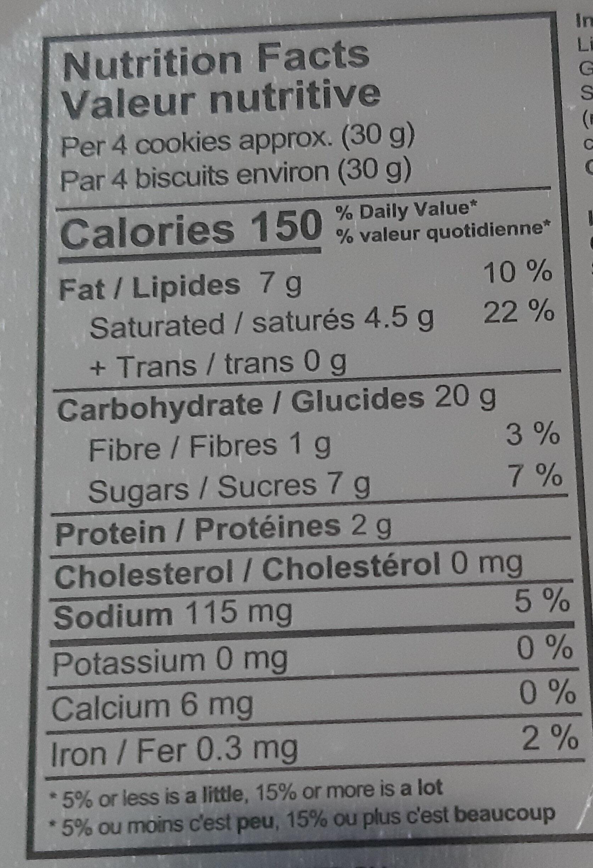 cookies - Nutrition facts - en