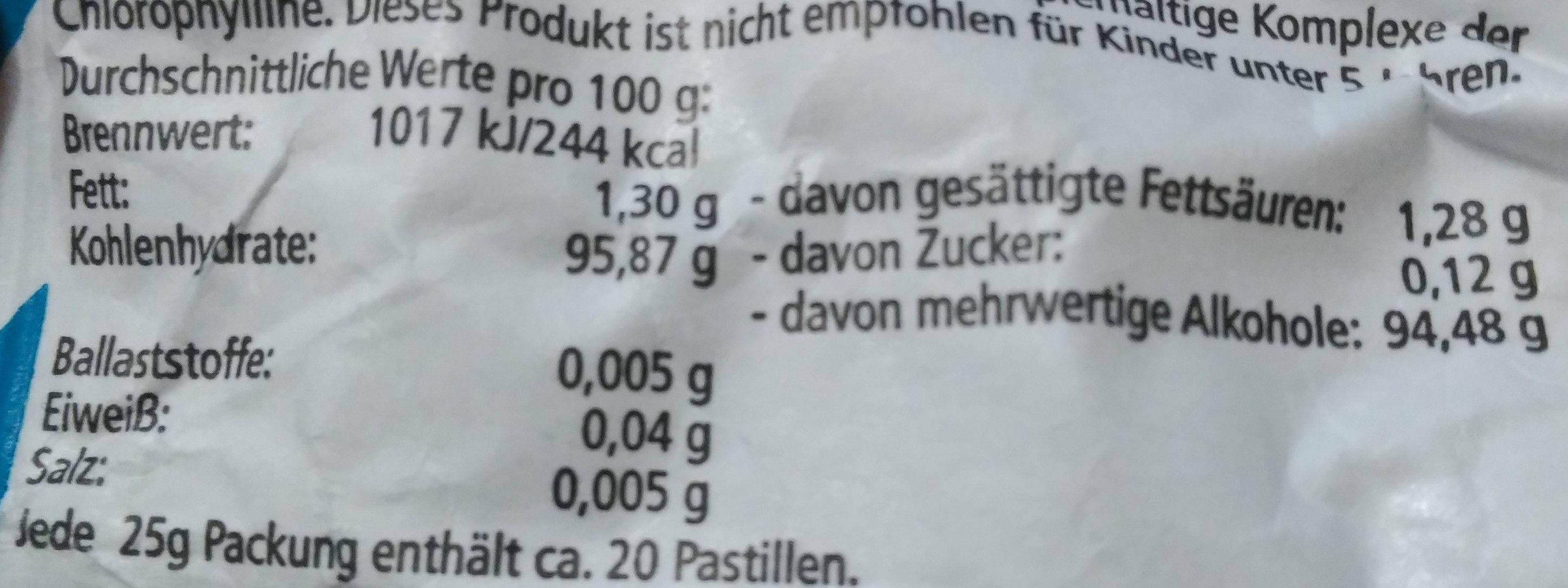 Extra frische Menthol-Pastillen, Spearmint - Nutrition facts - de