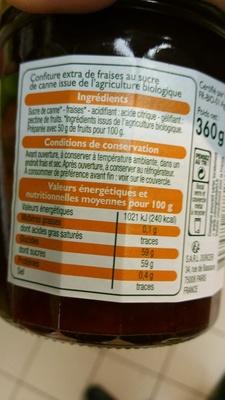 calorie Confiture Fraise Bio