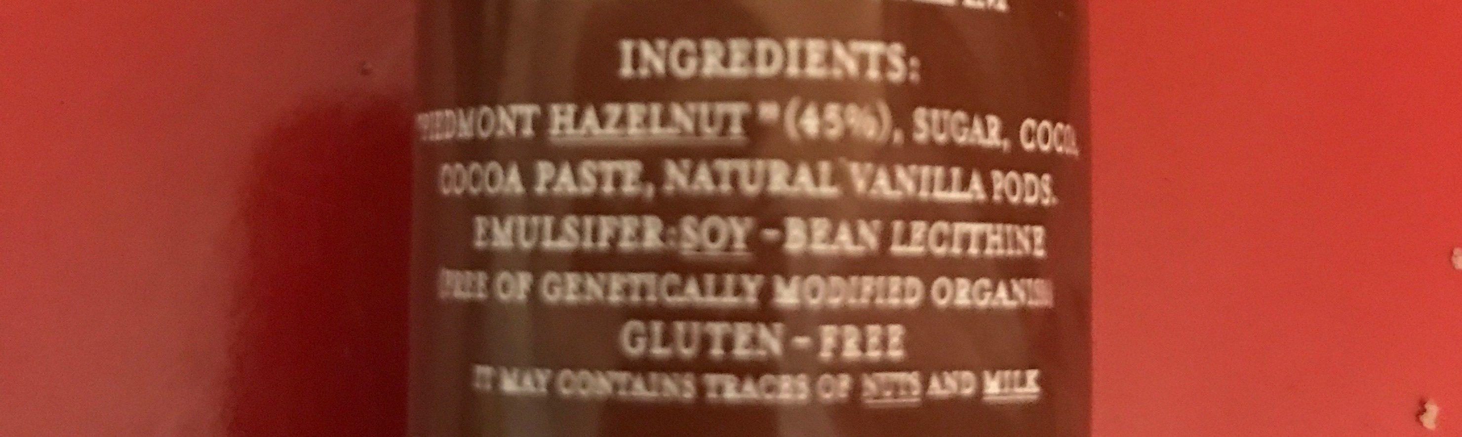 Gianduioso - Ingrediënten