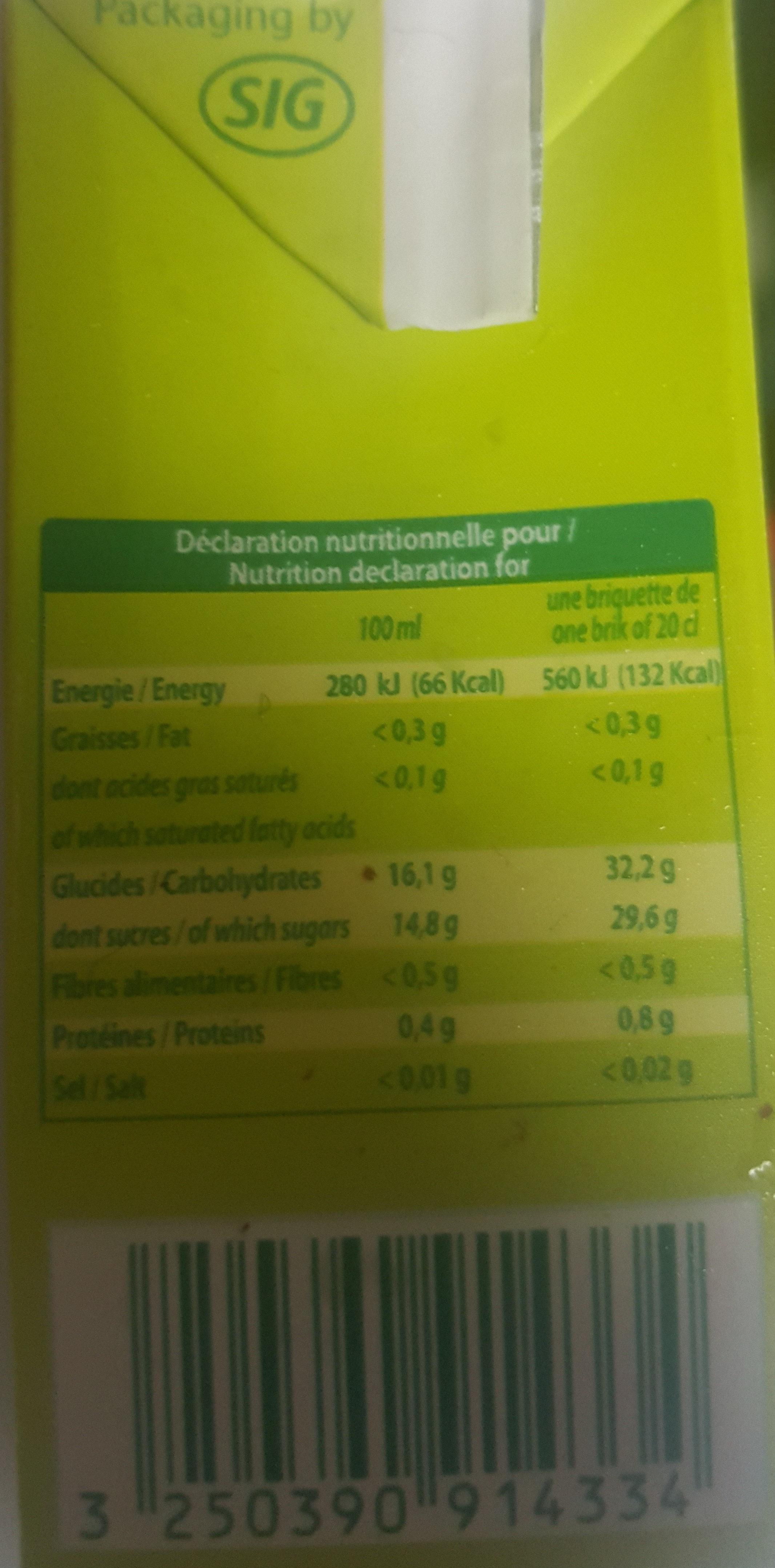 jus de raisin - Informations nutritionnelles - fr