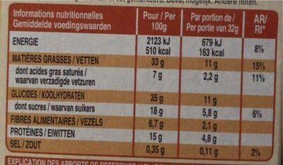 Extra barre genereuse - Voedingswaarden - fr