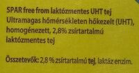 UHT lactozmentes tej - Ingrédients