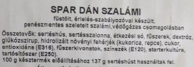 Dán  szalámi - Ingrédients - hu