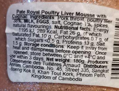 Mousse de foie de volaille au cognac - Nutrition facts - fr